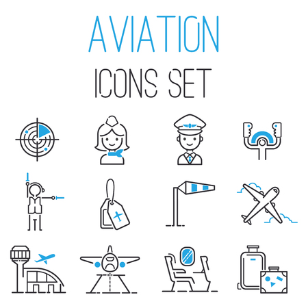 Aviation icons vector set Çizim