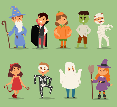Cartoon cute kids wearing Halloween costumes vector characters.