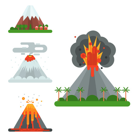Volcano magma vector blowing up with smoke crater illustration. Ilustração