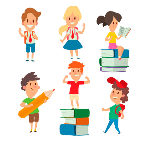 Children studying character vector. Illustration