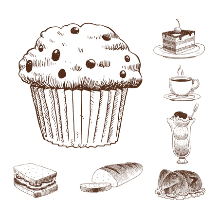 Food sketch vector illustration. Stock Illustratie