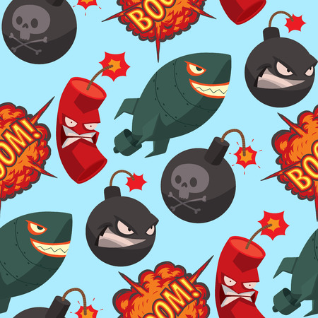 Bomb dynamite fuse vector seamless pattern background illustration