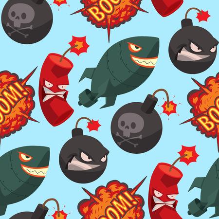 Bomb dynamite fuse vector seamless pattern background illustration