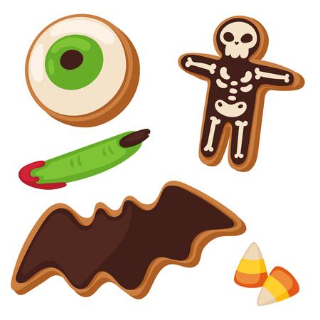 Halloween cookie symbols vector illustration set Illustration