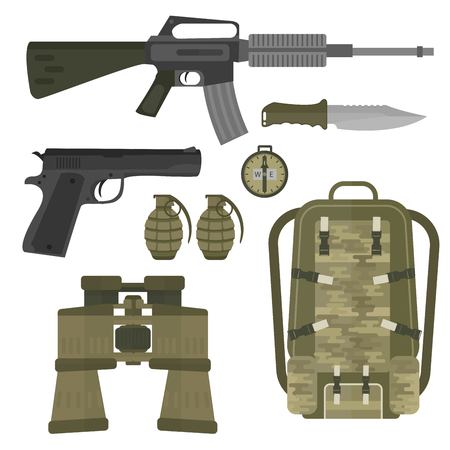 Military weapon set vector illustration.