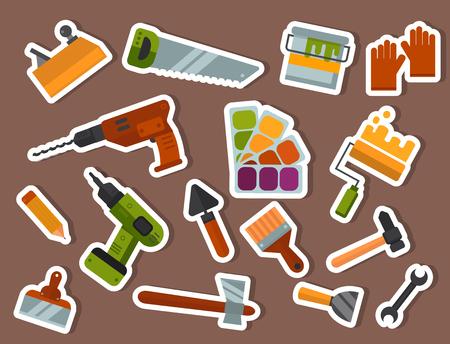 Construction tools set vector illustration. Vettoriali