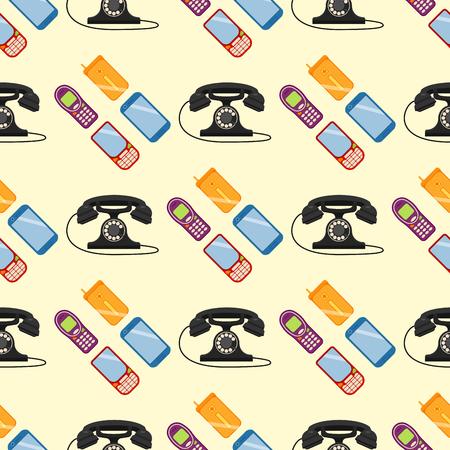 Vector vintage phones illustration seamless pattern