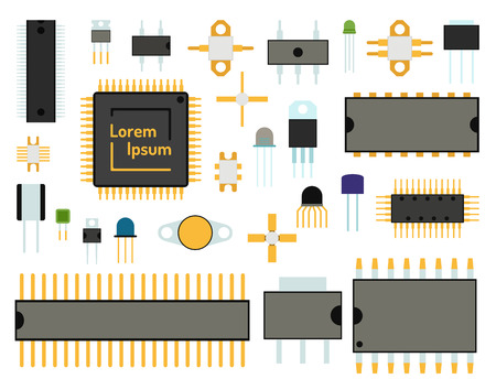 Computer chip set vector illustration Vectores