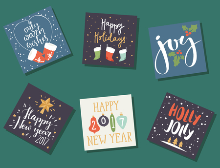 Christmas greeting card vector background illustration.