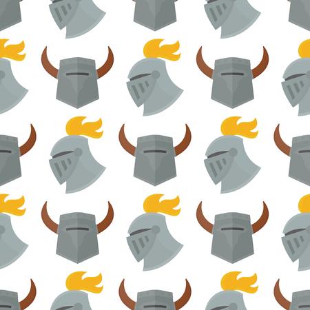 Knight helmet seamless pattern background vector illustration.