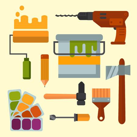 Construction tools set vector illustration. Çizim