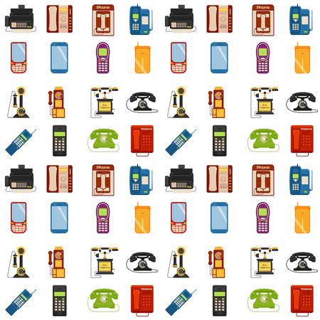 Vector vintage phones seamless pattern background