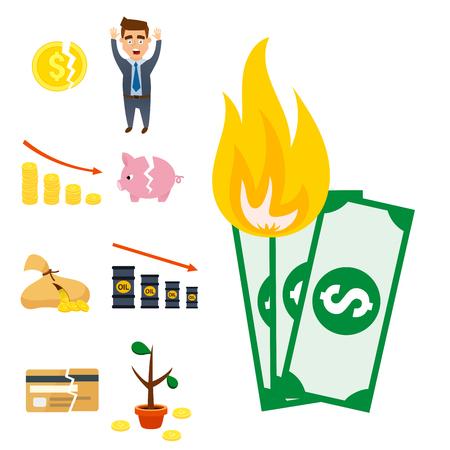 Crisis symbols concept vector illustration.