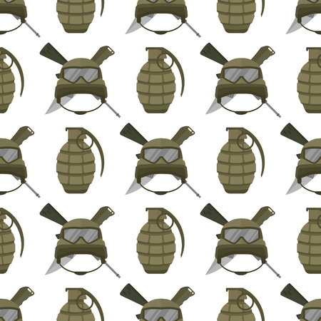 Military modern camouflage helmet and grenade seamless pattern background