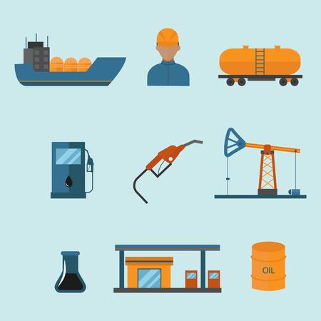 De illustratiereeks van minerale olie vectorpictogrammen