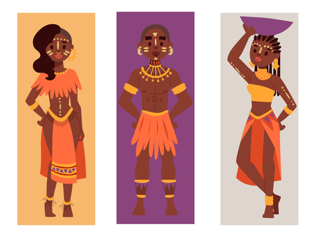 Maasai couple african people cards in traditional clothing happy person families vector illustration. Family american adult ethnic men, women.
