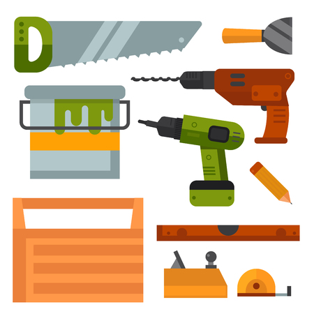 Construction tools worker equipment. House renovation handyman vector illustration. Carpenter industrial build job wrench repair working. Illustration