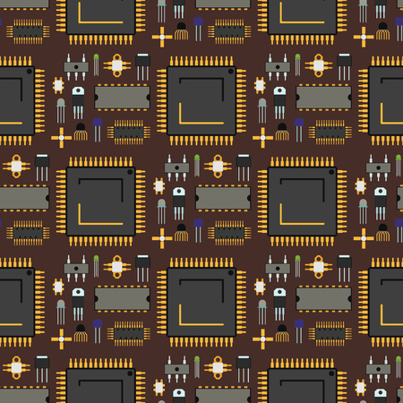 Computer chip technology seamless pattern background vector illustration Illustration