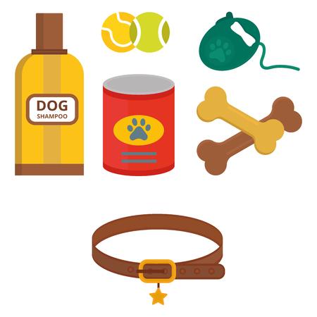 Pug dog playing vector illustration elements set flat style puppy domestic pet symbol. Cartoon doggy adorable looking breed canine presentation accessory. Ilustração