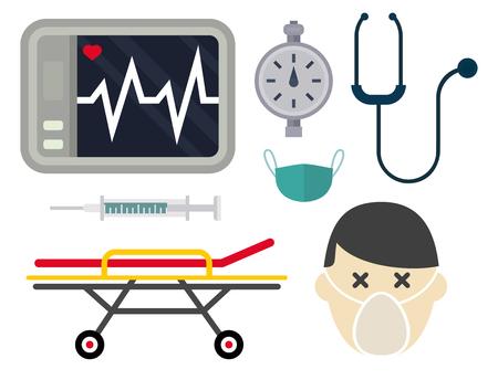 Ambulance icons vector set. Medicine health emergency hospital symbol. Urgent pharmacy pill support paramedic treatment clinic vehicle design. Illustration