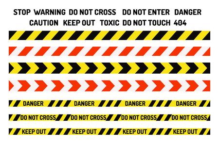 Las señales de prohibición establecen la ilustración de vector de producción industrial símbolo de peligro de advertencia información de seguridad prohibida y protección información de precaución no permitida. Cinta amarilla de riesgo
