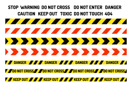 Prohibition signs set industry production vector illustration warning danger symbol forbidden safety information and protection no allowed caution information. Yellow risk tape Ilustracja