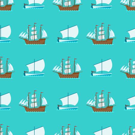 Schip cruiser boot zee naadloze patroon vaartuig reizen industrie vector zeilboten cruise. Mariene commerciële ontwerpachtergrond. Export zakelijke handel vervoer over water. Stock Illustratie