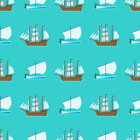 Ship cruiser boat sea seamless pattern vessel travel industry vector sailboats cruise. Marine commercial design background. Export business trade water cargo transportation.