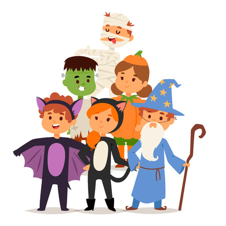 Cute kids wearing Halloween costumes vector. Little people isolated cheerful Halloween kids costume. Childhood fun cartoon .