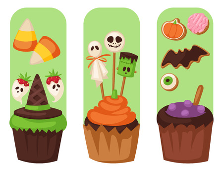 Halloween cookie cards food night cake party trick or treat candies flayer vector illustration. Halloween cake symbol vector autumn fear creepy traditional sign horror design. Celebration october.