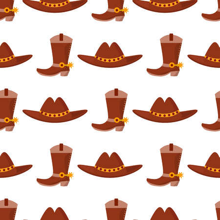 Wild west cowboy vector cloth rodeo equipment accessories seamless pattern background illustration Illustration