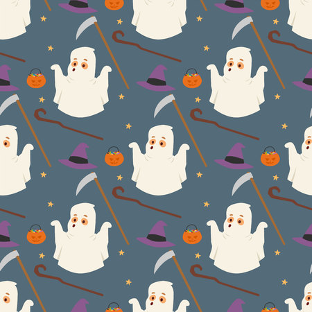 Halloween ghost seamless pattern background night rip party trick or treat candies vector illustration Illustration