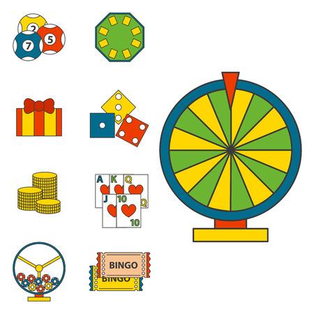 Simboli del giocatore di poker delle icone del gioco del casinò e soldi delle carte del black jack che vincono con l'illustrazione di vettore di concetto dello slot machine del burlone del giocatore delle roulette. Fortuna roulette successo intrattenimento gioca a gettoni.