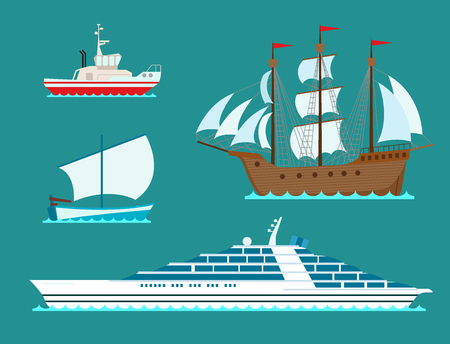 Ship cruiser boat sea symbol vessel travel industry vector sailboats cruise. Set of marine icon commercial design element. Export business trade water cargo transportation. Ilustração