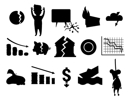 Crisis symbols black silhouette concept problem economy banking business finance design investment icon vector illustration. Money collapse depression credit economic.