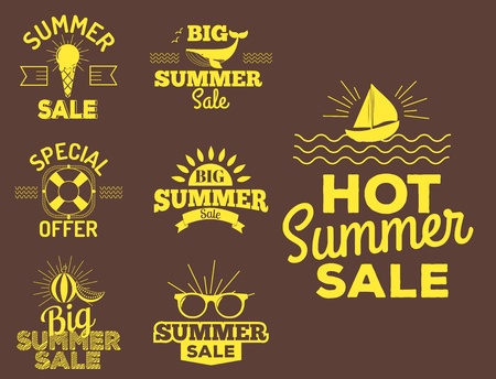 Summer sale logo clearance element vector advertising badges isolated. Some shopping big mega hand drawn collection of labels. Vector set of comic speech bubbles stickers. Illusztráció