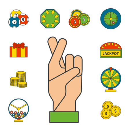 Casino game icons illustration.