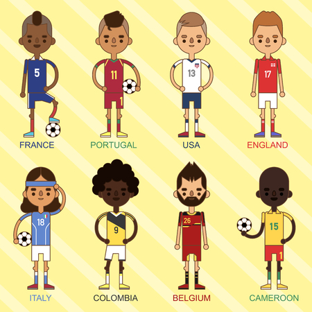 National Euro Cup soccer football teams vector illustration and world game player captain leader in uniform sport men isolated characters. Active winner playing male group. Stock Illustratie