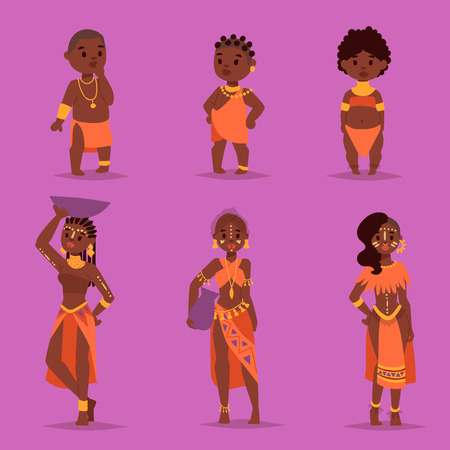Maasai couple african people in traditional clothing happy person families vector illustration. Family american adult ethnic women and childrens.