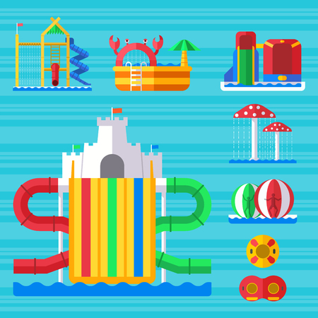 Water aqua park playground with slides and splash pads for family fun vector illustration. Illustration