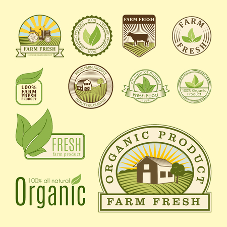 Bio farm organic eco healthy food templates and vintage vegan green color for restaurant menu or package badge vector illustration. Illustration