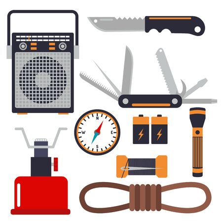 Survival emergency kit for evacuation. Vector equipment items, travel camp tool, backpacking exploration. tourism hiking disaster.