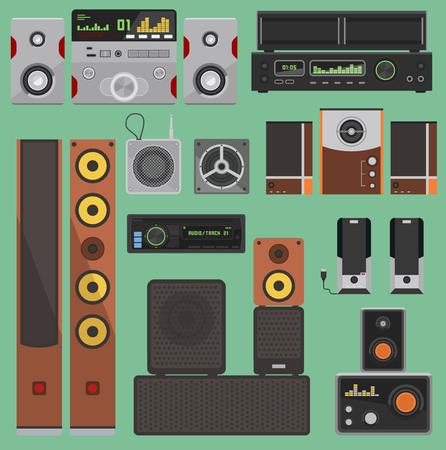 ホームミュージックサウンド音響システム機器ベクトルステレオフラットラウドスピーカープレーヤー受信機サブウーファーリモート音楽システム  イラスト・ベクター素材