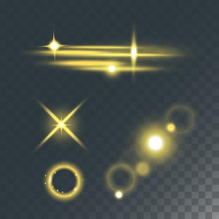 Glowing vector lights effect on dark transparent background illustration Illustration
