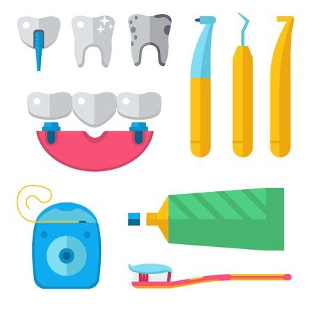 Dentist medical vector tools icons health care medicine instrument stomatology dental implantation clinic illustration. Foto de archivo - 96353185