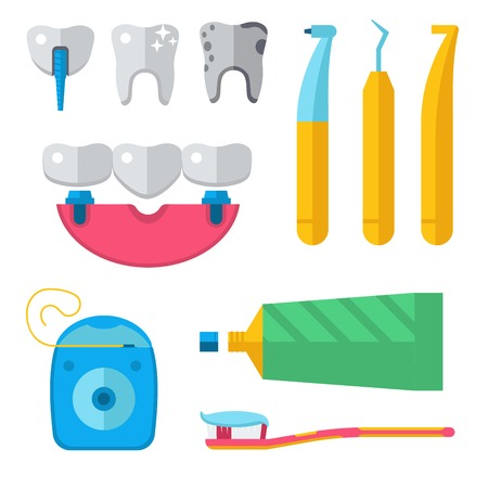 Dentist medical vector tools icons health care medicine instrument stomatology dental implantation clinic illustration. Illustration