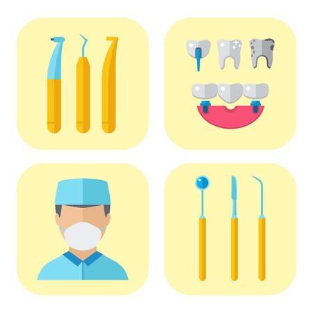 Dentist doctor character and stomatology equipment medicine instrument vector illustration. Illustration