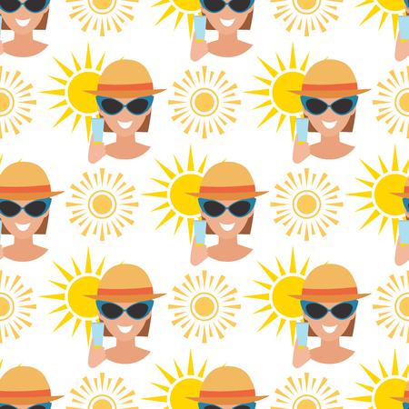 Beach accessories summer fashion beach travel beautiful tropical lifestyle suntan people seamless pattern background illustration.