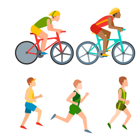 Runner and bicycle athlete illustration 向量圖像