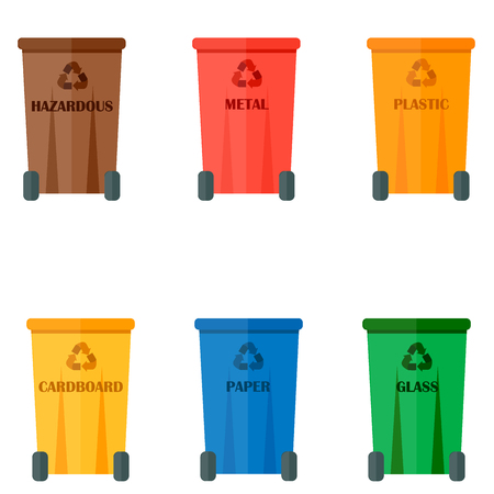 Different recycling garbage waste vector illustration.